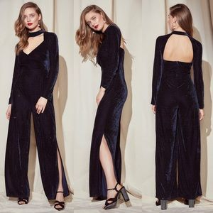 NASTY GAL brand new blue velvet split leg jumpsuit